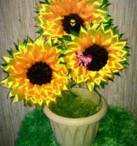 Цветы в горшке декоративные подарки ручной работы