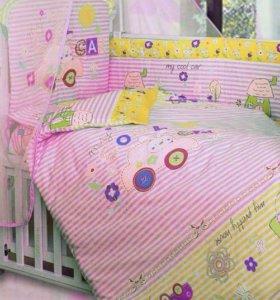 Новый комплект в кроватку 4 пр
