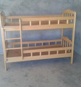 Двухярусная кровать из чистого дерева