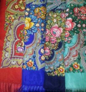 Нарядные платки с шёлковой бахромой