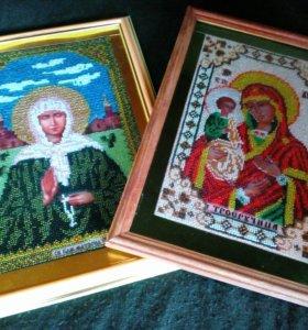Иконы из чешского бисера.