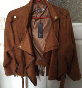 Замшевая куртка косуха с бахромой