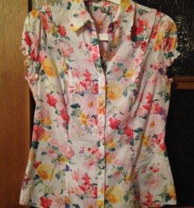 Рубашка новая Zolla яркая, с цветами