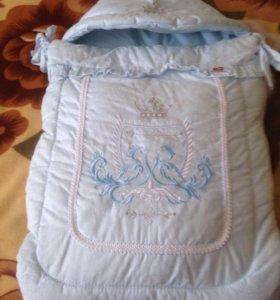 Конверт-одеяло+шапочка в подарок