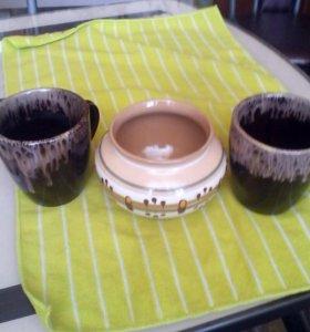 Горшок без крышки, кружки 2 штуки.керамика.
