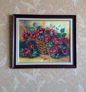 Картина розы из бисера
