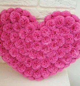 Сердце из бумажных цветов на заказ
