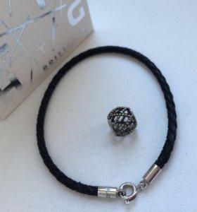 Кожаный браслет с шармом SunLight (новый)