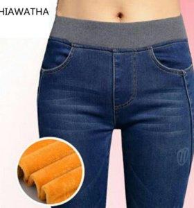 Джинсовые брюки утеплённые