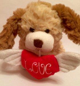 Игрушка мягкая собачка с LOVE хороший подарок