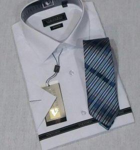 Рубашки мужские белые короткий рукав Victorio