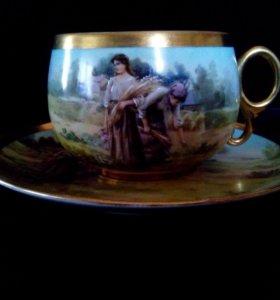 Чайная пара из фарфора с позолотой, роспись