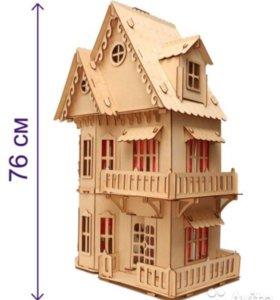 Домик для кукол деревянный с мебелью, высота 76 см