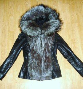 Кожаная куртка с чернобуркой 40-44