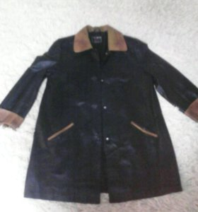 Кожанная удлененная куртка