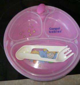 Детская тарелочка с подогревом на присоске