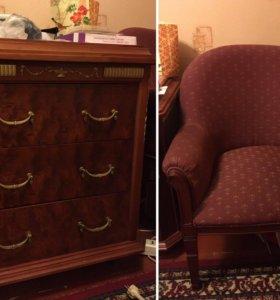 из красного дерева  мебель комод шкаф кресло