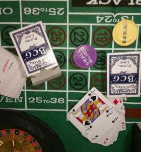 Покерный набор в деревянном кейсе + подарок