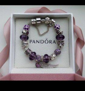 Браслет pandora с фиолетовыми шармами