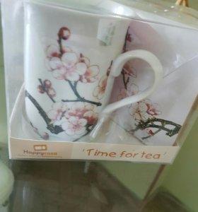 Чайный набор (кружка и подставка) веточка сакуры