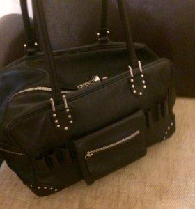 Кожаная чёрная сумка бочонок оригинал
