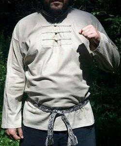 Льняная рубаха бежевая, р.46-60