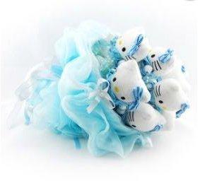 Букет из мягких игрушек голубой