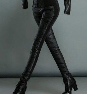 Черные теплые брюки легинсы на пуху. Зима. 42-48