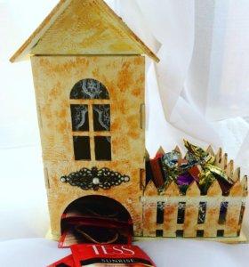 Подарки ручной работы чайный домик декор бутылок