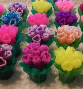 Мыло ручной работы букетик тюльпанов