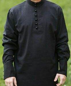 Льняная рубаха черная, р.46-60