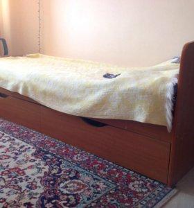 Кровать  односпальная (80см) б/у