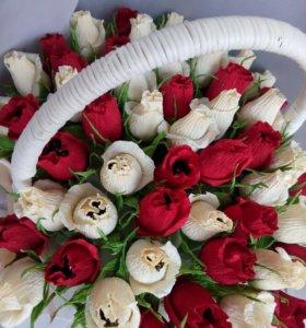 Корзина сладких роз