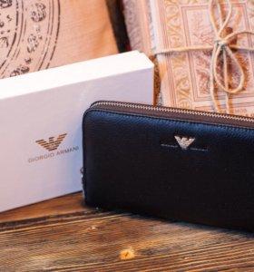G.Armani . Кожаный портмоне+подарок часы🔥