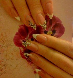 наращивание ногтей гель лак