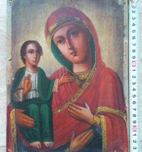 Икона 19 век Богородица Троеручица.