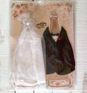 """Свадебные наряды для бутылки """"жених и невесты"""""""