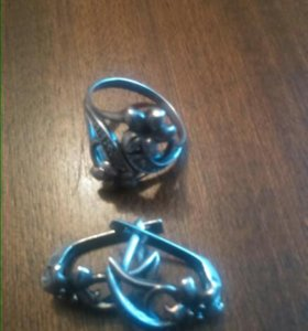 серебряный комплект, серьги и колечко