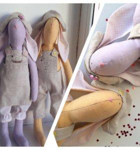 Интерьерные игрушки зайцы тильды