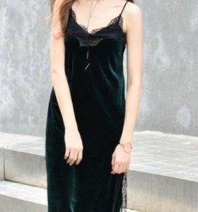 Платье бархат кружево