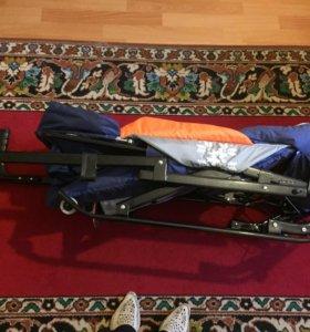 Санки-коляска с колесиками, складные