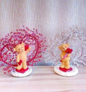 Сердечки бисерные с симпатичными мишками.