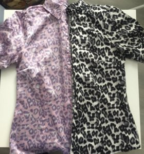 2 шт разного цвета Блузка атласная леопард