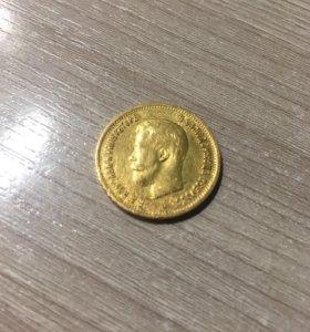 Монета 10 руб 1899г-золото