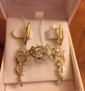 Кольцо и серьги из золота с бриллиантами срочно