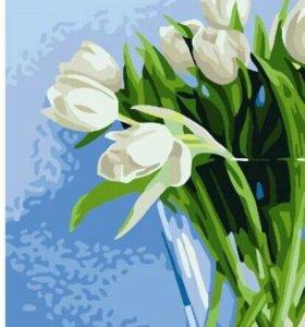 Белые тюльпаны - раскраска по номерам