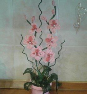 Орхидея из бисера прекрасный подарок