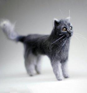 Кошечка из шерсти. Игрушка.