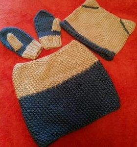 Детский вязаный комплект шапка, снуд, варежки