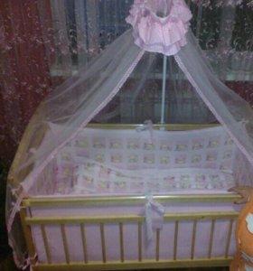 Детская кровать, матрац, бортики, балдахин(срочно)